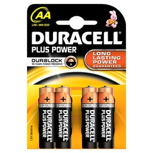 BATTERI DURACELL PLUS POWER AA (4)