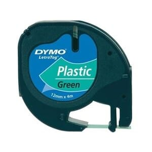 TAPE DYMO LETRATAG 12MM PLAST SORT/GRØNN