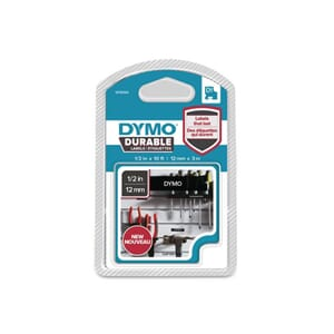 TAPE DYMO D1 12MM X 3M HVIT/SORT