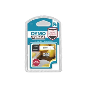 TAPE DYMO D1 12MM X 5,5M SORT/HVIT