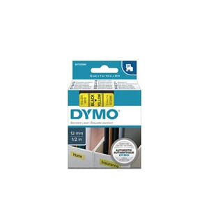 TAPE DYMO D1 SORT/GUL 12MM X 7M