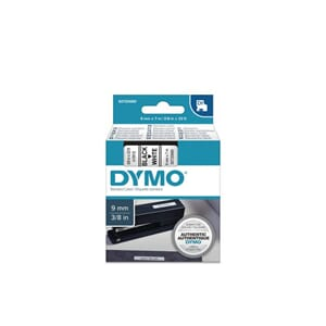 TAPE DYMO D1 SORT/HVIT 9MM X 7M