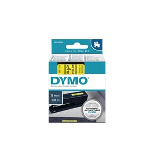 TAPE DYMO D1 POLY 9MMX7M SORT/GUL BB1