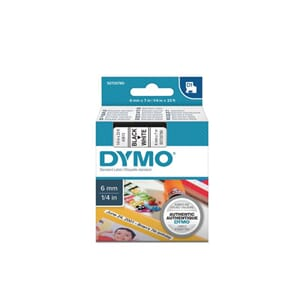 TAPE DYMO D1 POLY 6MMX7M SORT/HVIT BB1