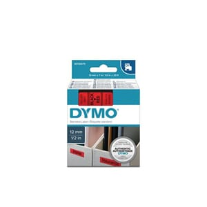 TAPE DYMO D1 12MM X 7M SORT/RØD