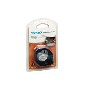TAPE DYMO LETRATAG 12MM METAL SORT/SØLV