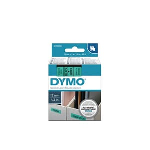 TAPE DYMO D1 12MMX 7M SORT/GRØNN