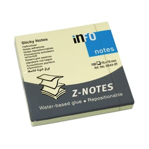 NOTATBLOKK Z-NOTES 75X75MM GUL