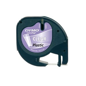 TAPE DYMO LETRATAG12MM PLAST SORT/KLAR