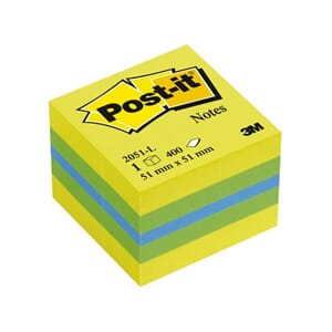 POST-IT® KUBE 51X51MM GUL/GRØNN/BLÅ
