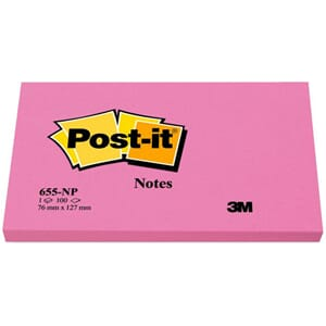 POST-IT® NOTATBLOKK 76X127MM 655 NEONROS