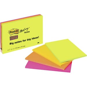 POST-IT MØTEROMSBLOKK NEON 152X101MM (4)